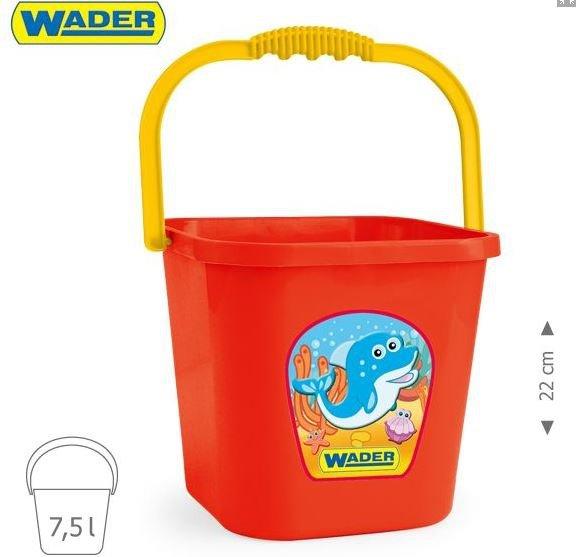 Wiaderko kwadratowe wielkie 7,5L Wader 71708 3 kolory