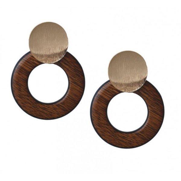 Kolczyki podwójne koła drewno K1083