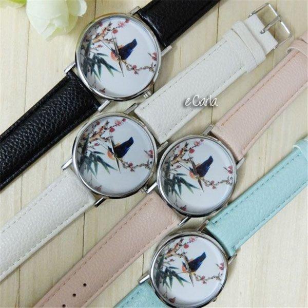 Zegarek kanarek na gałęzi Z134, Kolor: Różowy