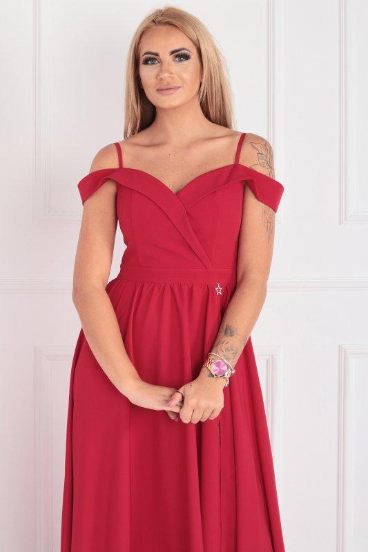 sukienka maxi z opuszczonymi ramiączkami