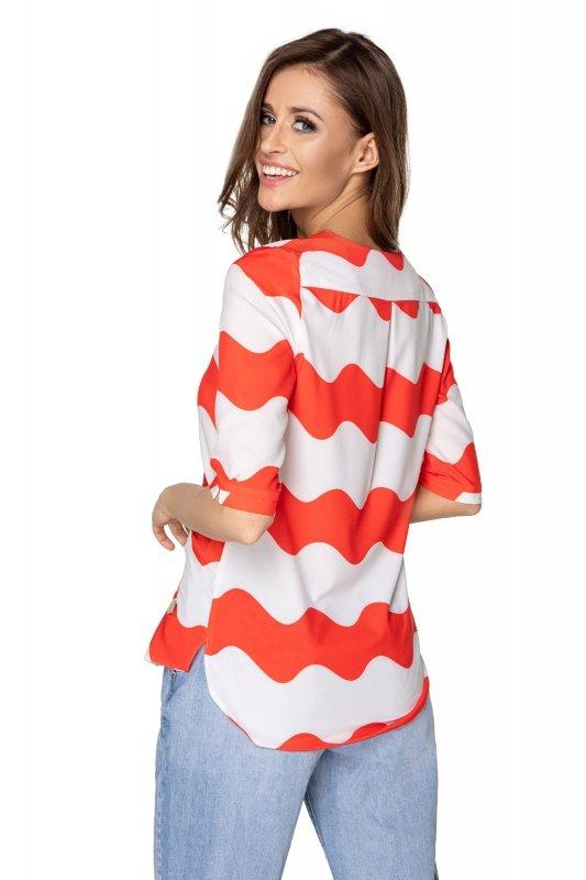 bluzka o koszulowym kroju z wydłużonym tyłem i guzikami na biuście