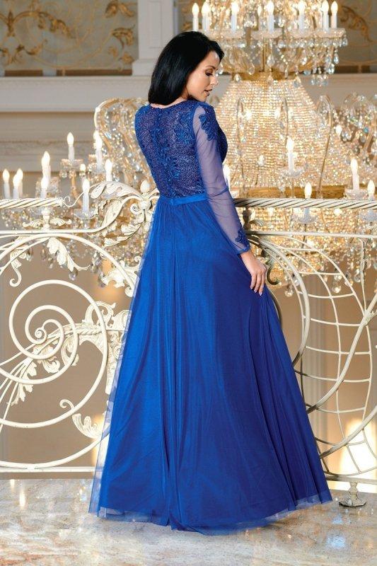 wieczorowa sukienka maxi z haftowaną górą i tiulowymi rękawami