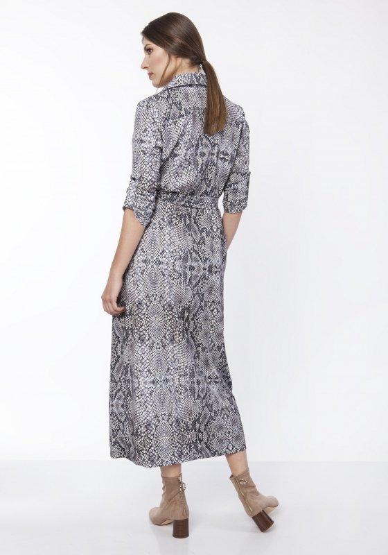 wzorzysta sukienka maxi o kroju szmizjerki z wiązaniem w pasie