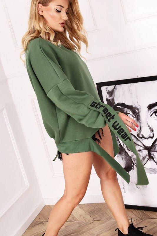 bawłniana bluza z lampasami na rękawach i wiązaniem z przodu