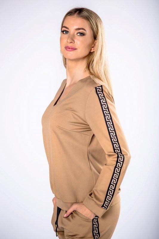 bluza z dekoltem w serek i lampsami na rękawach