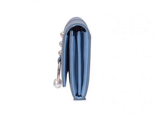NUCELLE Długi metaliczny portfel niebieski