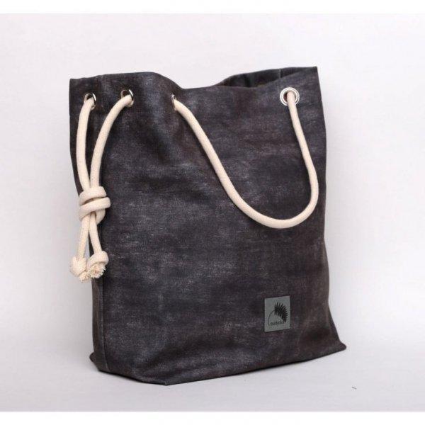 Torebka w kształcie worka, imitacja ciemno szarego dżinsu - rączki ze sznurka