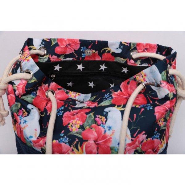 Granatowa torebka worek w papugi i egzotyczne wzory - rączki ze sznurka.