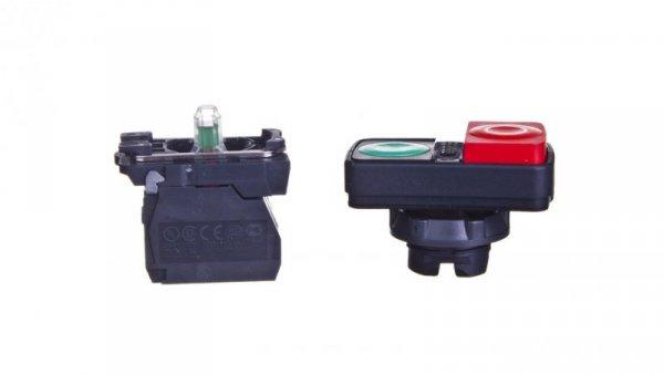 Przycisk sterowniczy podwójny 22mm czerwony/zielony 1Z 1R z samopowrotem z podświetleniem XB5AW73731M5