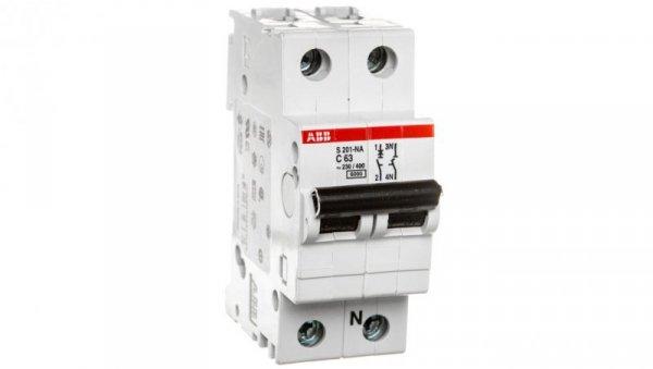 Wyłącznik nadprądowy 1P+N C 63A 6kA AC S201-C63 NA 2CDS251103R0634