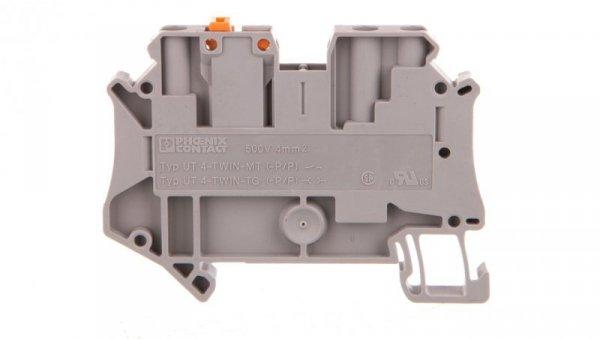 Złączka przelotowa 3-przewodowa z odłącznikiem nożowym 4mm2 szara UT 4-TWIN-MT P/P 3064014 /50szt./