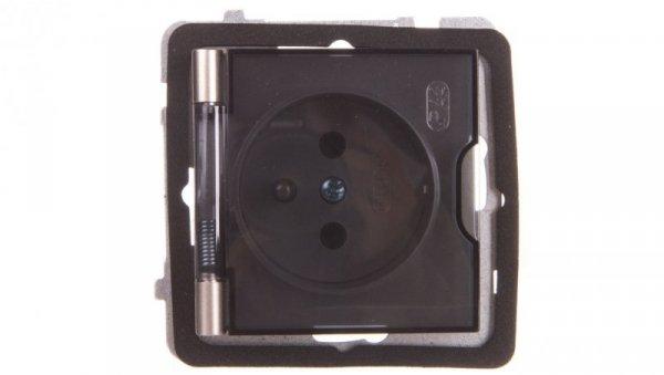 AS Gniazdo bryzgoszczelne z/u IP44 klapka przezroczysta satyna light GPH-1GZ/m/45/d