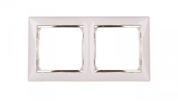 VALENA Ramka podwójna pozioma krem/złoto 774152