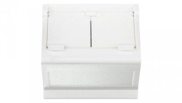 Simon Connect Płytka K45 gniazda teleinformatycznego podwójnego 2xRJ skośna z przesłoną czysta biel KB80/