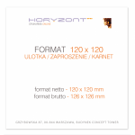 ulotka 120 x 120 mm, druk pełnokolorowy obustronny 4+4, na papierze kredowym, 130 g, 500 sztuk