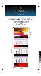 Kalendarz trójdzielny VIP LINE klejony - główka - karton Alaska 250 g, foliowana błysk, całość 310 x 830 mm, druk pełnokolorowy, 3 oddzielne kalendaria 290 x 145 mm, okienko - 100 sztuk