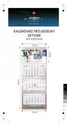 Kalendarz trójdzielny SKYLINE, z wypukłą główką, bez koperty, druk jednostronny kolorowy (4+0), główka kaszerowana + folia błysk, podkład z lakierem dyspersyjnym, główka - kreda mat 300 g, podkład - karton 300 g, 3 bloki kalendarium, okienko - 1500 szt.