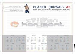 planer na biurko A2 - 26 kart, druk jednostronny pełnokolorowy 4+0, offset 90g, klejony - 900 sztuk