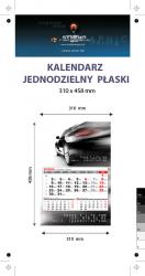 kalendarz jednodzielny Orange Mini, Karton Alaska 250g, Folia błysk jednostronnie, całość 310 x 458 mm, druk pełnokolorowy 4+0, główka płaska, 1 blok kalendarium 3-miesięczne, 290 x 190 mm, okienko - 150 sztuk