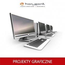 projekt graficzny, skład z przygotowaniem do druku pliku graficznego - ulotki dwustronnej składanej (do produkcji Horyzont)