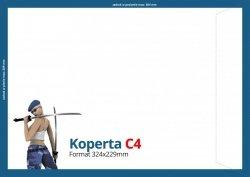 Koperty C4 (324 x 229 mm), Druk jednostronny kolorowy 4+0, Offset 80 g - 1000 szt.