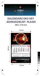 Kalendarz jednodzielny Eko Sky, płaski, druk jednostronny kolorowy (4+0), Folia błysk jednostronnie, Podkład - Karton 300 g, okienko czerwone - 500 sztuk