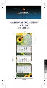 Kalendarz trójdzielny spiralowany VIP LINE z wypukłą główką, bez koperty - druk jednostronny kolorowy (4+0) Karton Alaska 250 g, Folia błysk jednostronnie, 310 x 830 mm, Spiralowany, 3 bloki kalendarium, 290 x 145 mm, okienko - 300 szt.