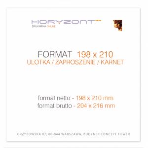ulotka 198 x 210 mm, druk pełnokolorowy obustronny 4+4, na papierze kredowym, 250 g, 2500 sztuk