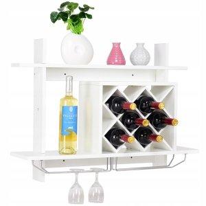 Półka ścienna na wino i kieliszki