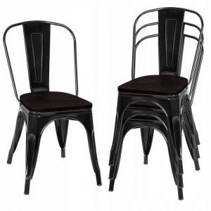 Krzesła metalowe w stylu industrialnym 4 szt.