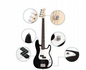 Elektryczna gitara basowa z futerałem