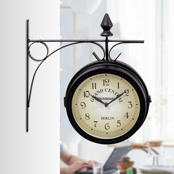 Zegar ścienny dwustronny dworcowy w stylu retro