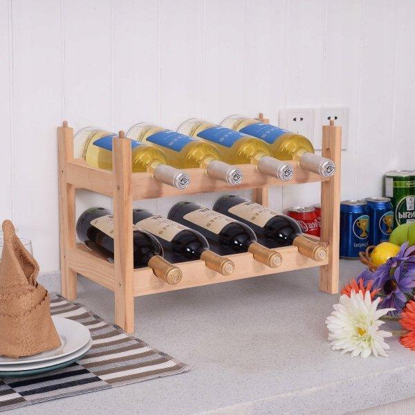 Drewniany regał stojak na wino na 8 butelek