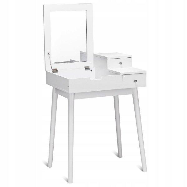 Toaletka z lustrem biała   taboret