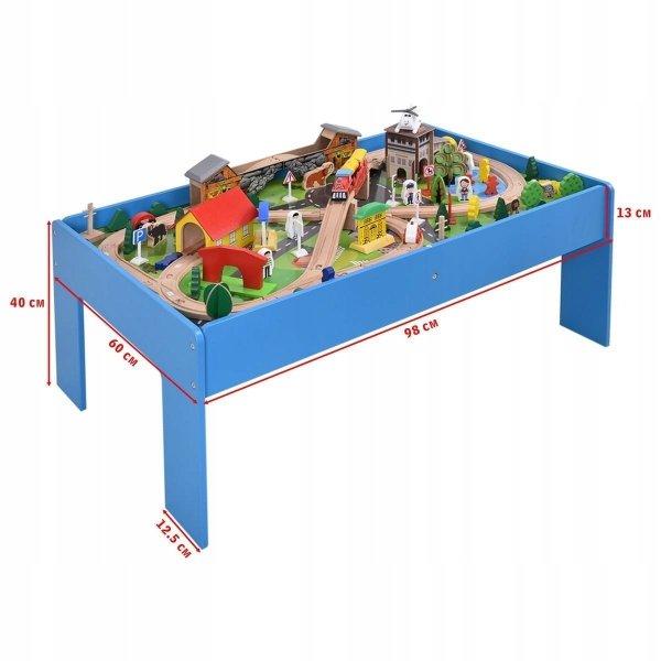Drewniania kolejka z torami i miastem 108 elementów