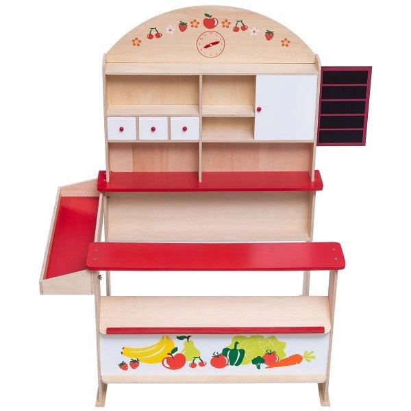 Drewniany mini sklep spożywczy dla dzieci