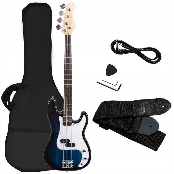 Gitara basowa elektryczna drewniana z futerałem