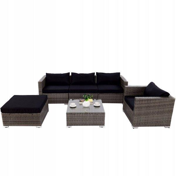 Meble ogrodowe rattanowe zestaw kanapa fotele i stół