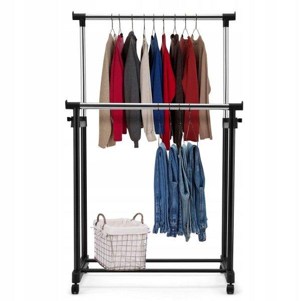 Wieszak na ubrania stojak drążek 2 poziomy