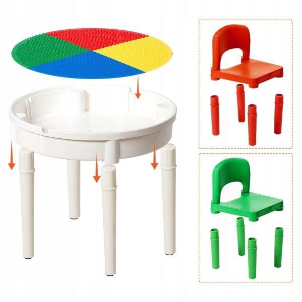 Stolik i krzesła dla dzieci 3w1 300 klocków