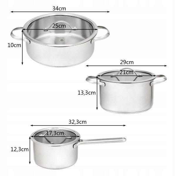 Zestaw 3 garnków kuchennych ze stali nierdzewnej