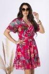 szyfonowa sukienka z kopertowym dekoltem