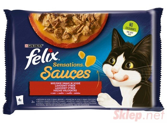 Felix Sensations Sauces Wiejskie Smaki indyk/jagnięcina w sosie saszetki 4x85g
