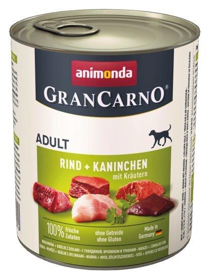 Animonda GranCarno Adult Rind Kaninchen Krautern Wołowina + Królik z Ziołami puszka 800g