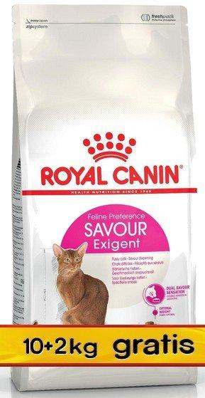 Royal Canin Exigent Savour Sensation karma sucha dla kotów dorosłych, wybrednych, kierujących się teksturą 10+2kg gratis