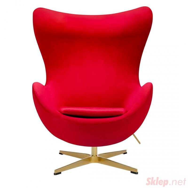 Fotel EGG CLASSIC VELVET GOLD czerwony - welur, podstawa złota