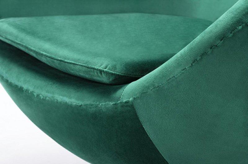 Fotel EGG CLASSIC VELVET GOLD zielony - welur, podstawa złota