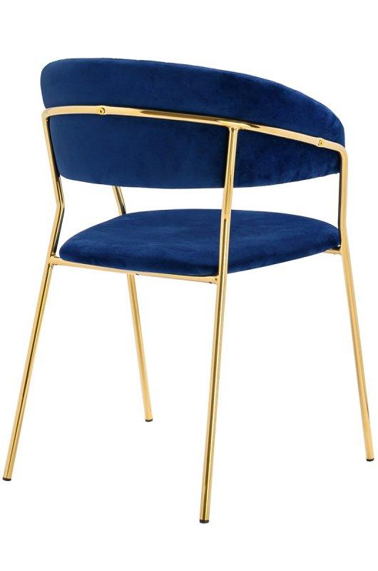 Krzesło MARGO ciemny niebieski - welur, podstawa złota
