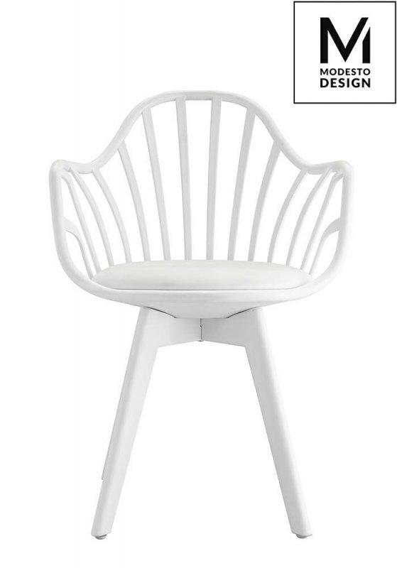MODESTO fotel ALBERT ARM biały - polipropylen, ekoskóra