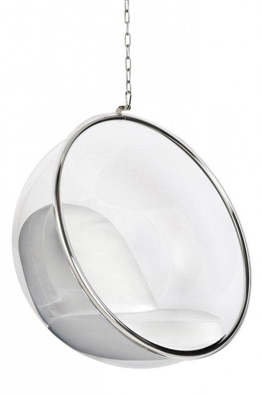 Fotel wiszący BUBBLE poduszka  biała - korpus akryl, poduszka ekoskóra